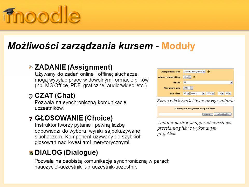 Możliwości zarządzania kursem - Moduły ZADANIE (Assignment) Używany do zadań online i offline; słuchacze mogą wysyłać prace w dowolnym formacie plików