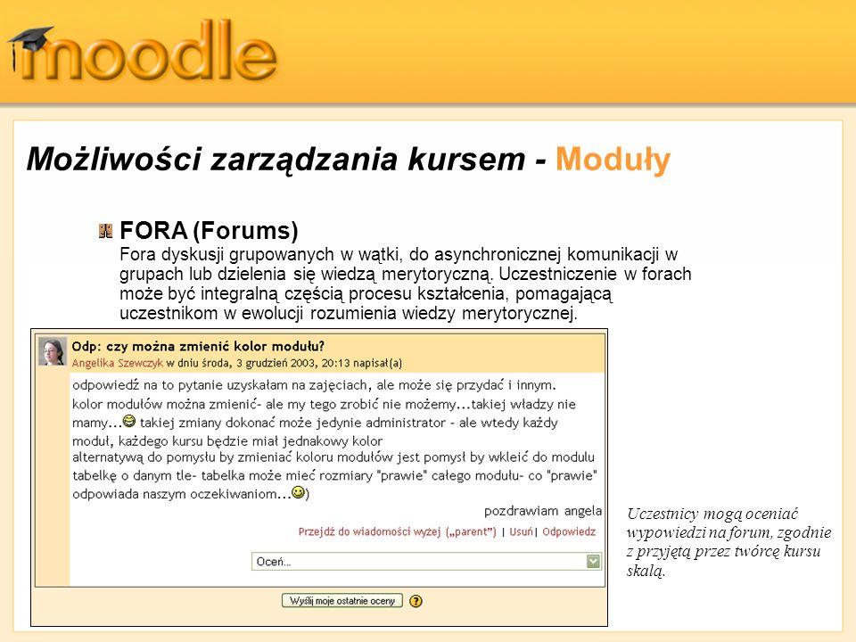 Możliwości zarządzania kursem - Moduły FORA (Forums) Fora dyskusji grupowanych w wątki, do asynchronicznej komunikacji w grupach lub dzielenia się wie