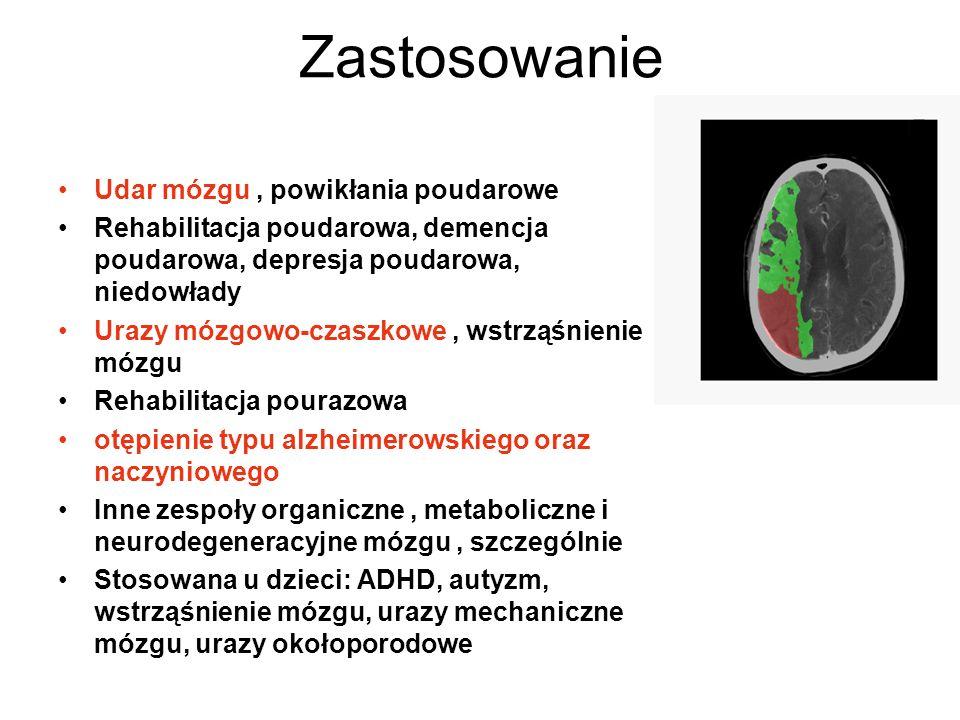 Zastosowanie Udar mózgu, powikłania poudarowe Rehabilitacja poudarowa, demencja poudarowa, depresja poudarowa, niedowłady Urazy mózgowo-czaszkowe, wst