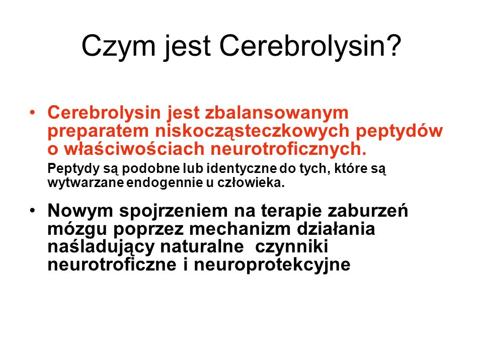 Czym jest Cerebrolysin? Cerebrolysin jest zbalansowanym preparatem niskocząsteczkowych peptydów o właściwościach neurotroficznych. Peptydy są podobne