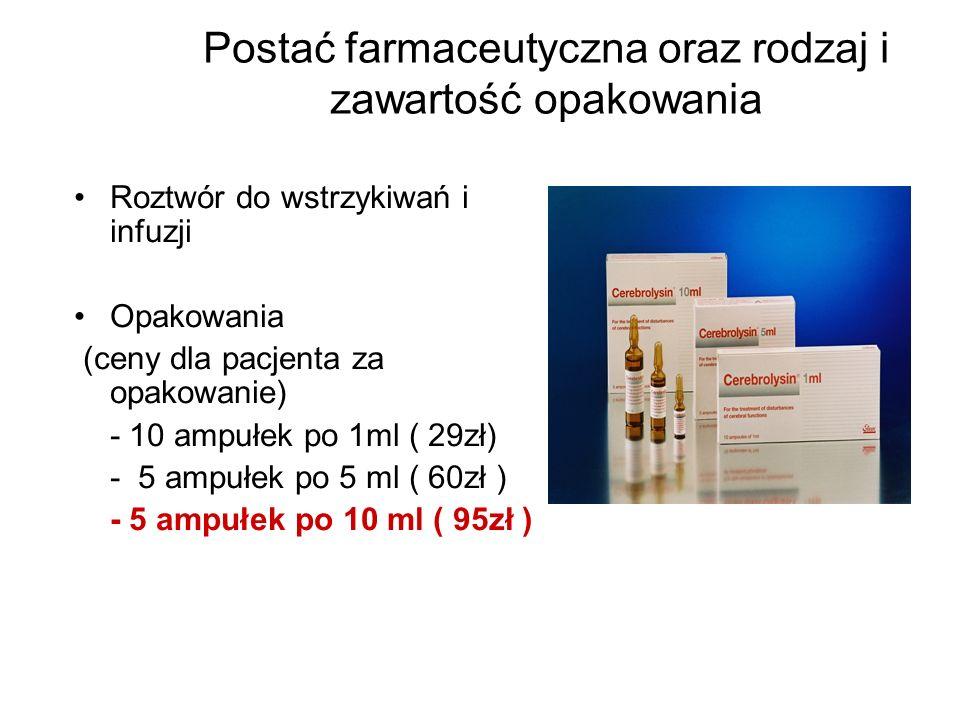 Postać farmaceutyczna oraz rodzaj i zawartość opakowania Roztwór do wstrzykiwań i infuzji Opakowania (ceny dla pacjenta za opakowanie) - 10 ampułek po