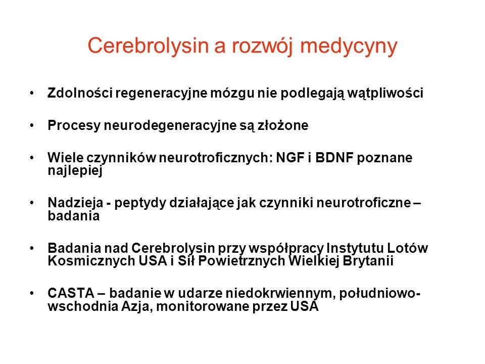 Cerebrolysin a rozwój medycyny Zdolności regeneracyjne mózgu nie podlegają wątpliwości Procesy neurodegeneracyjne są złożone Wiele czynników neurotrof