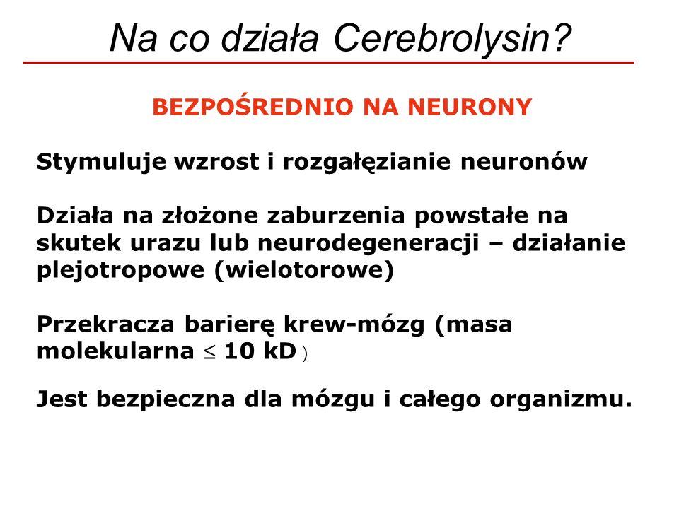 Na co działa Cerebrolysin? BEZPOŚREDNIO NA NEURONY Stymuluje wzrost i rozgałęzianie neuronów Działa na złożone zaburzenia powstałe na skutek urazu lub