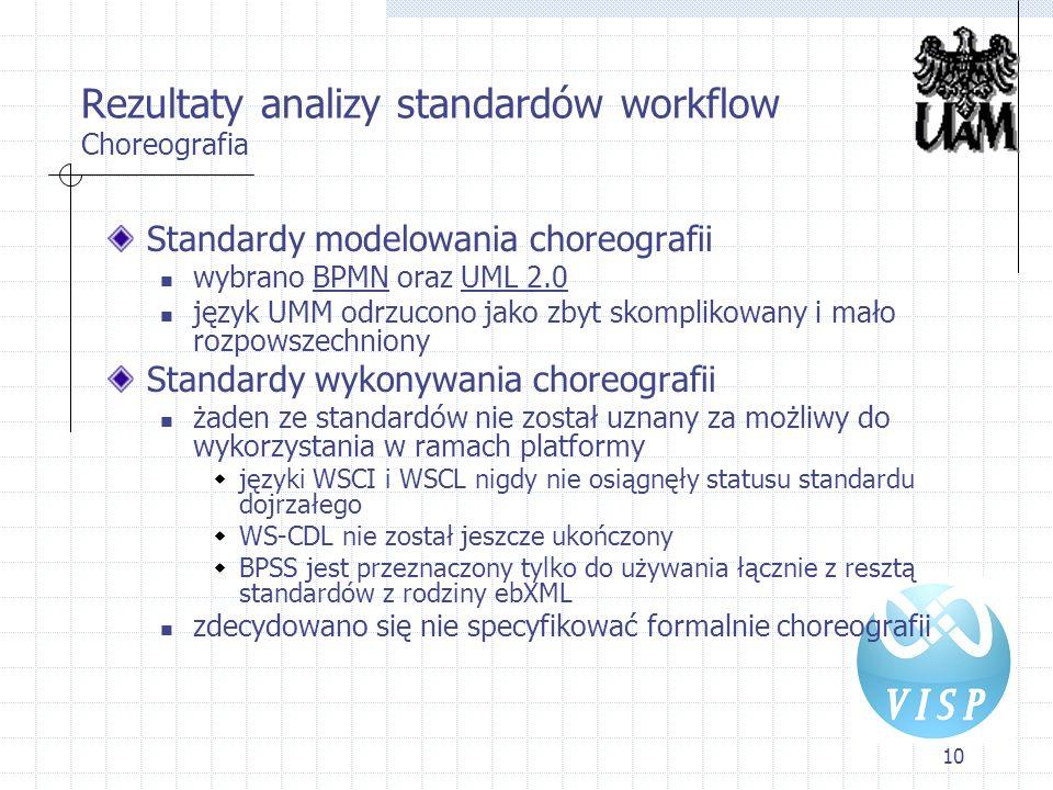 10 Rezultaty analizy standardów workflow Choreografia Standardy modelowania choreografii wybrano BPMN oraz UML 2.0 język UMM odrzucono jako zbyt skomp