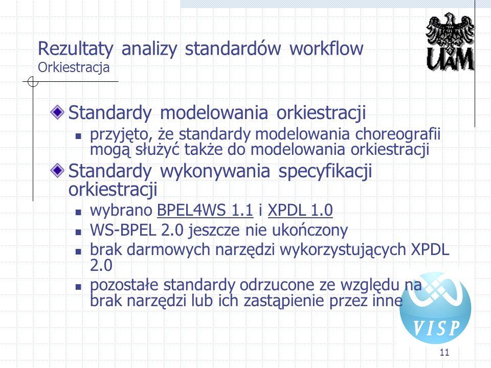11 Rezultaty analizy standardów workflow Orkiestracja Standardy modelowania orkiestracji przyjęto, że standardy modelowania choreografii mogą służyć t
