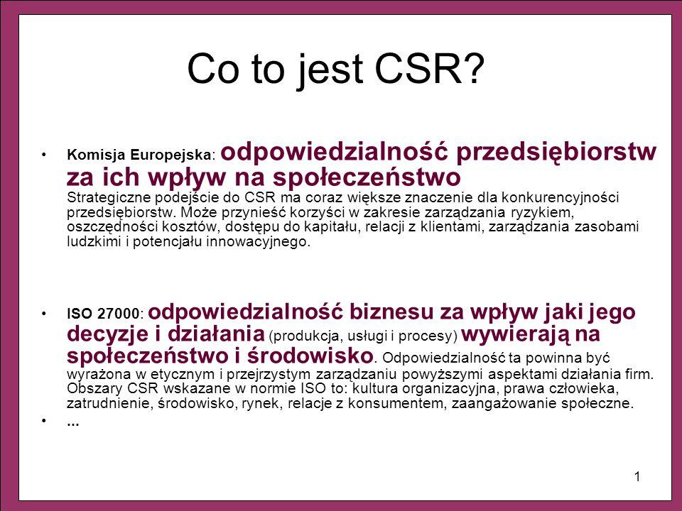 1 Co to jest CSR? Komisja Europejska: odpowiedzialność przedsiębiorstw za ich wpływ na społeczeństwo Strategiczne podejście do CSR ma coraz większe zn