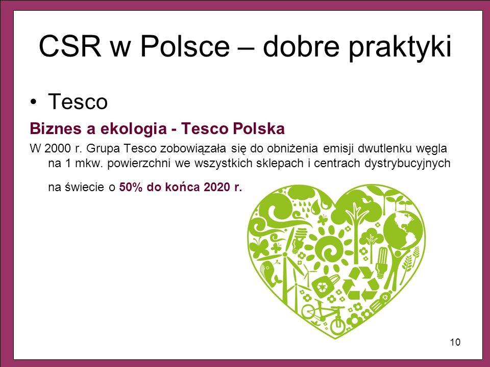 10 CSR w Polsce – dobre praktyki Tesco Biznes a ekologia - Tesco Polska W 2000 r. Grupa Tesco zobowiązała się do obniżenia emisji dwutlenku węgla na 1