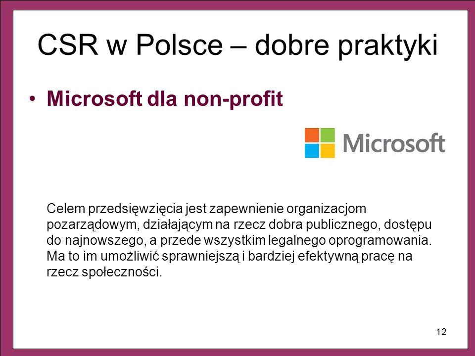 12 CSR w Polsce – dobre praktyki Microsoft dla non-profit Celem przedsięwzięcia jest zapewnienie organizacjom pozarządowym, działającym na rzecz dobra