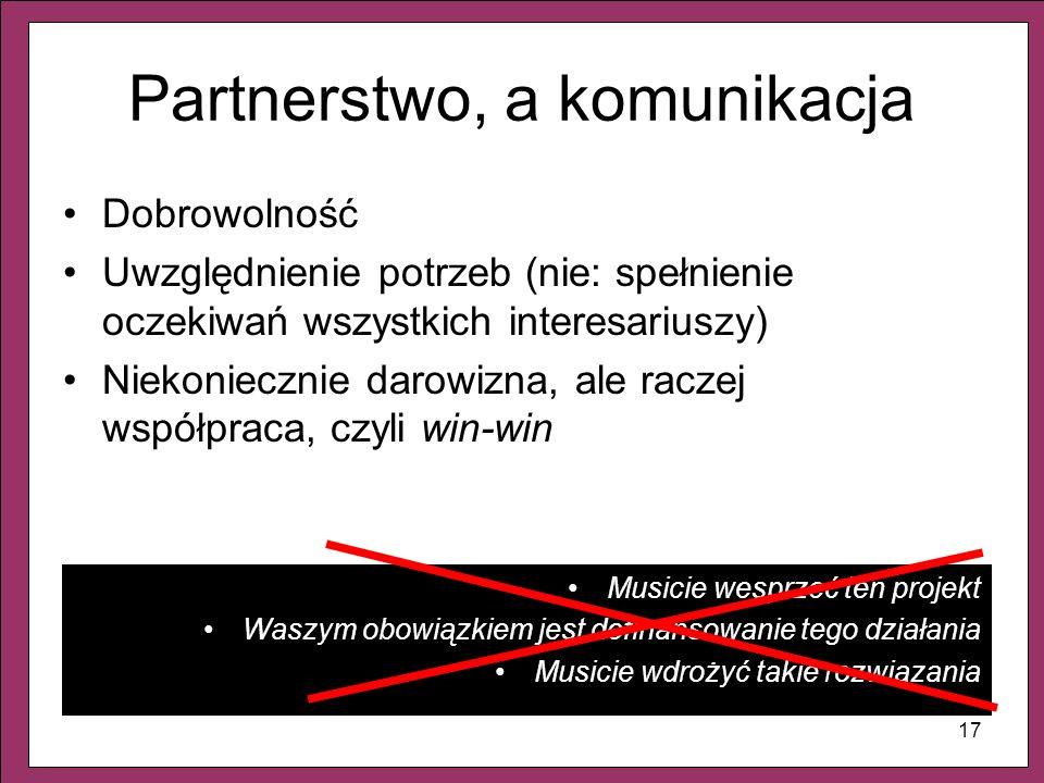 17 Partnerstwo, a komunikacja Dobrowolność Uwzględnienie potrzeb (nie: spełnienie oczekiwań wszystkich interesariuszy) Niekoniecznie darowizna, ale ra