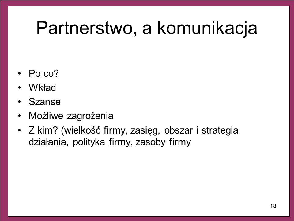 18 Partnerstwo, a komunikacja Po co? Wkład Szanse Możliwe zagrożenia Z kim? (wielkość firmy, zasięg, obszar i strategia działania, polityka firmy, zas
