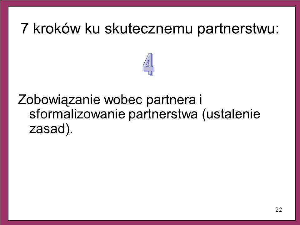 22 7 kroków ku skutecznemu partnerstwu: Zobowiązanie wobec partnera i sformalizowanie partnerstwa (ustalenie zasad).