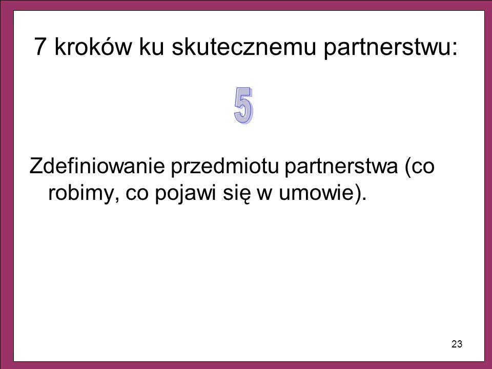 23 7 kroków ku skutecznemu partnerstwu: Zdefiniowanie przedmiotu partnerstwa (co robimy, co pojawi się w umowie).