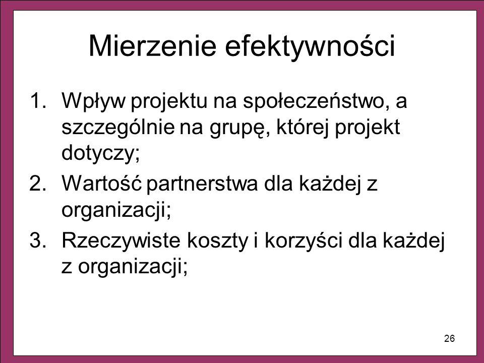 26 Mierzenie efektywności 1.Wpływ projektu na społeczeństwo, a szczególnie na grupę, której projekt dotyczy; 2.Wartość partnerstwa dla każdej z organi