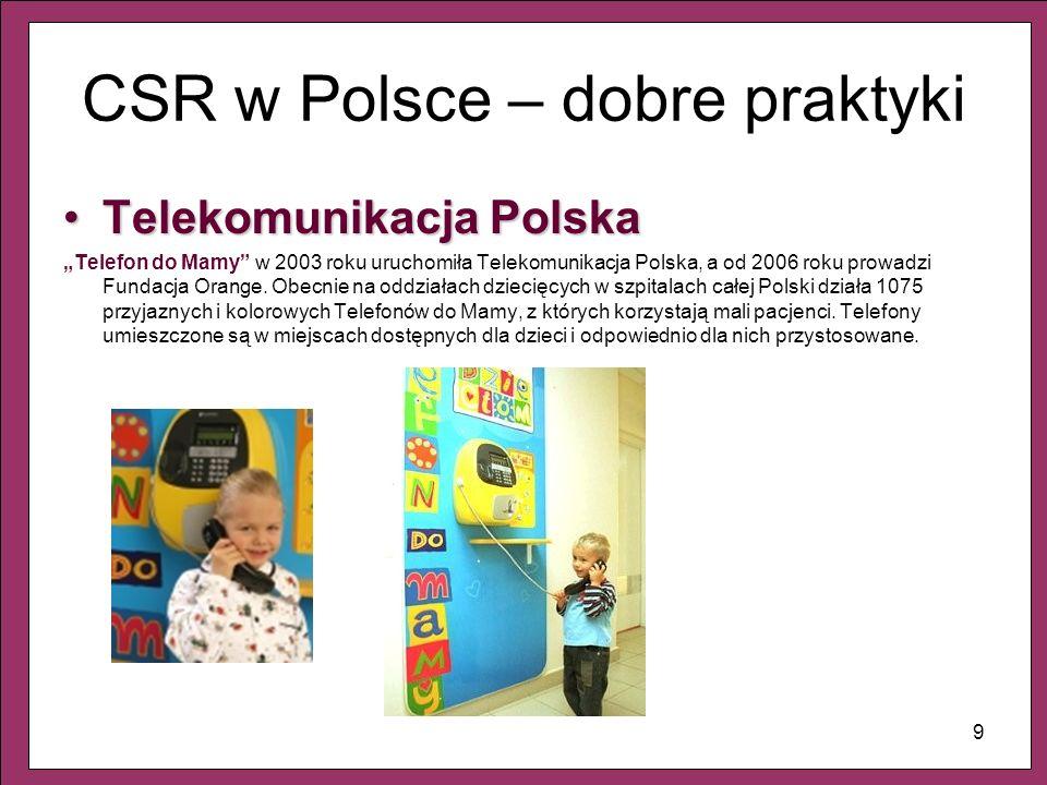 9 CSR w Polsce – dobre praktyki Telekomunikacja PolskaTelekomunikacja Polska Telefon do Mamy w 2003 roku uruchomiła Telekomunikacja Polska, a od 2006