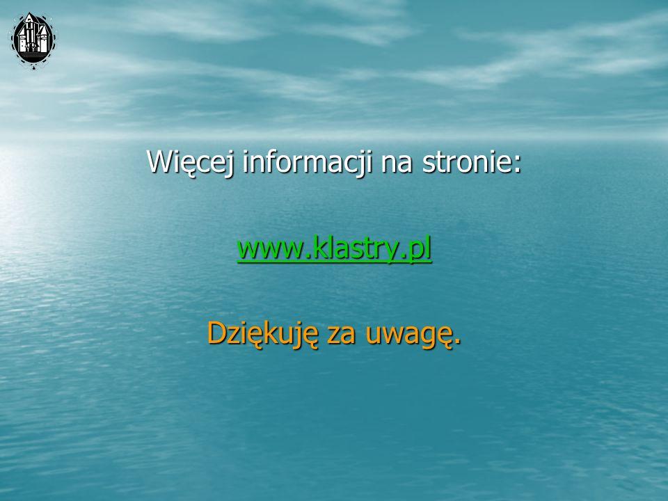 Więcej informacji na stronie: www.klastry.pl Dziękuję za uwagę.