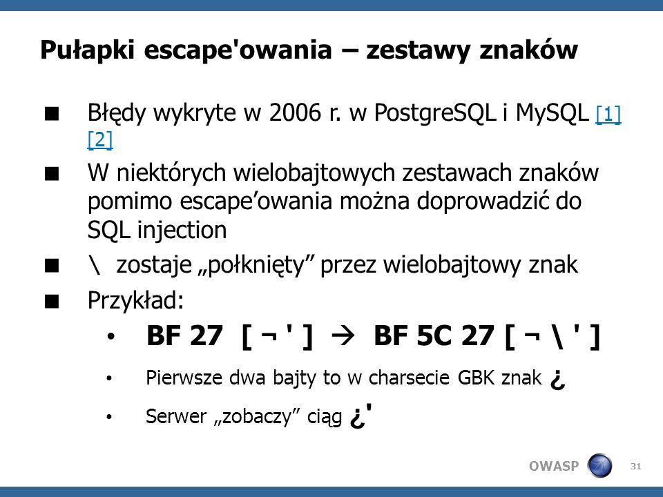 OWASP 31 Pułapki escape'owania – zestawy znaków Błędy wykryte w 2006 r. w PostgreSQL i MySQL [1] [2] [1] [2] W niektórych wielobajtowych zestawach zna