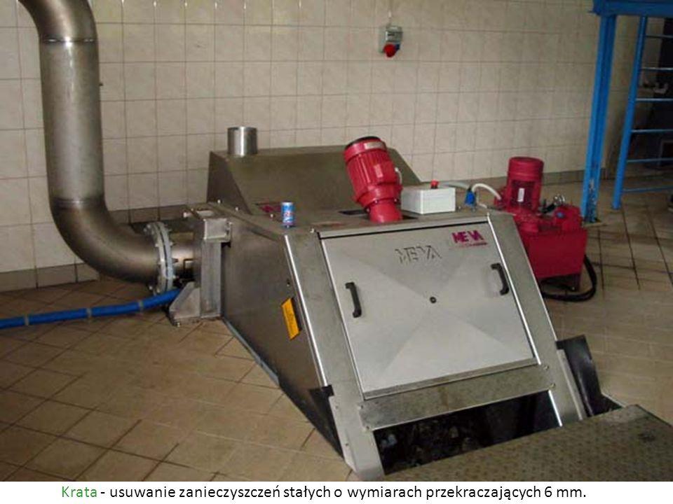 Piaskownik Piaskownik - usuwanie zanieczyszczeń mineralnych (piasek, żwir, popiół) na skutek ruchu wirowego wywołanego sprzężonym powietrzem, usuwanie flotujących tłuszczy.