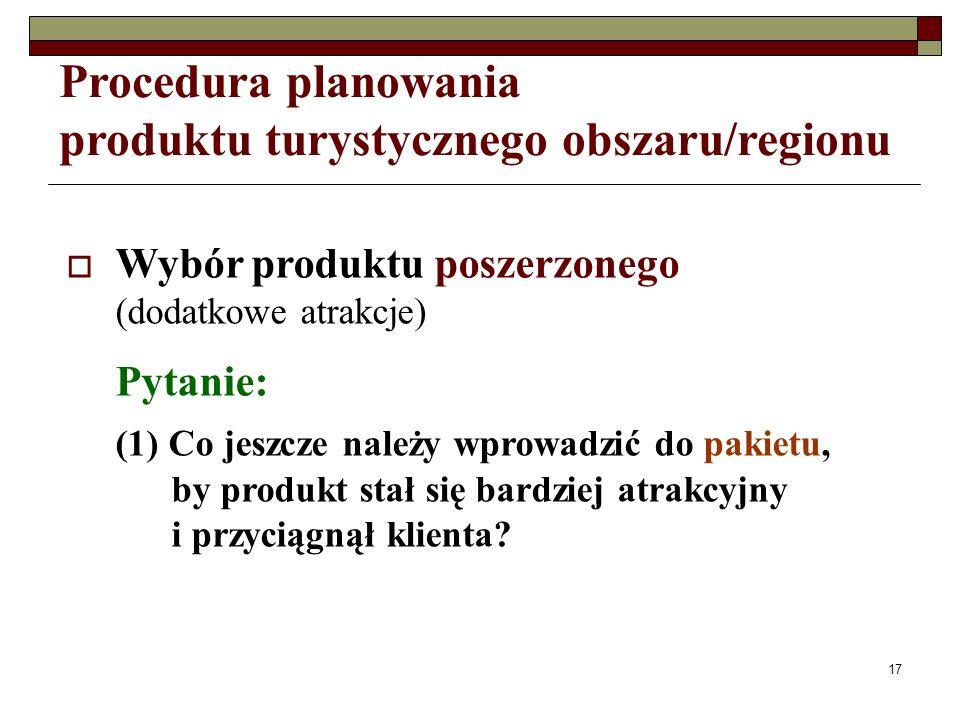 17 Procedura planowania produktu turystycznego obszaru/regionu Wybór produktu poszerzonego (dodatkowe atrakcje) Pytanie: (1) Co jeszcze należy wprowadzić do pakietu, by produkt stał się bardziej atrakcyjny i przyciągnął klienta?