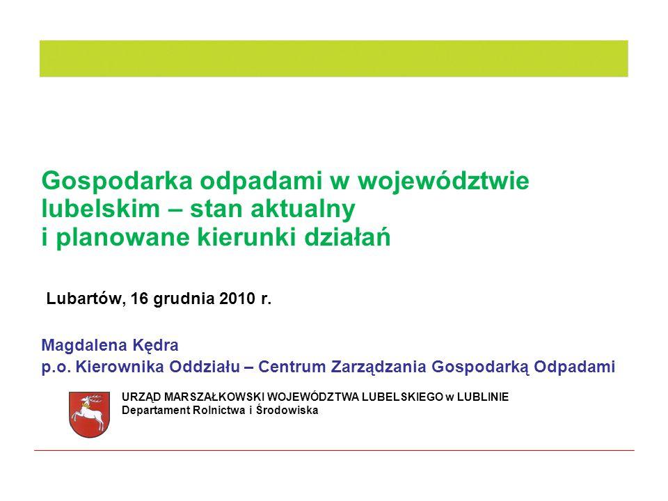 Cel WPGO 2011 Zapewnienie wystarczającej liczby instalacji do zagospodarowania odpadów komunalnych w województwie w oparciu o ponadgminne zakłady zagospodarowania odpadów Województwo zostało podzielne na 10 regionów gospodarki odpadami (każdy obsługuje ponad 150 000 mieszkańców) w ramach których jest planowanych do budowy 17 Zakładów Zagospodarowania Odpadów i 2 instalacje będące elementami ZZO) Region Lublin ( liczba ludności 428 433, ZZO KOM EKO, ZZO MPO SITA) Region Puławy (liczba ludności 177 736, ZZO Puławy) Region Zamość (liczba ludności 162 859 ZZO Dębowiec ) Region Biała Podlaska ( liczba ludności 201 621 ZZO Biała Podlaska, element ZZO – instalacja Międzyrzec Podlaski) Region Chełm (liczba ludności 167 591, ZZO Srebrzyszcze) Seminarium 16 grudnia 2010 r.