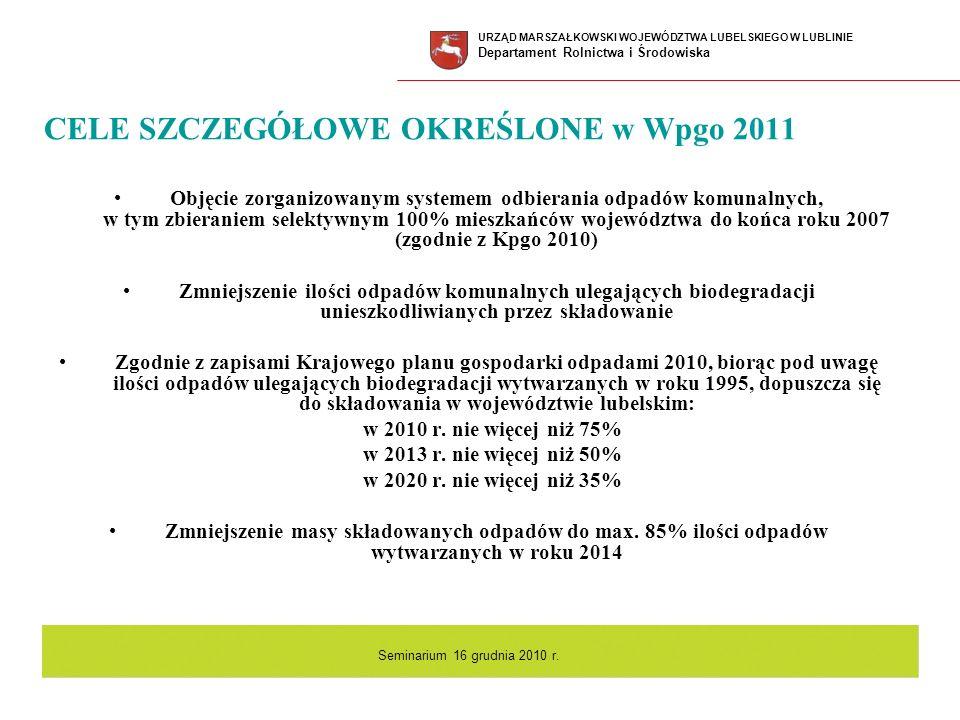 CELE SZCZEGÓŁOWE OKREŚLONE w Wpgo 2011 Objęcie zorganizowanym systemem odbierania odpadów komunalnych, w tym zbieraniem selektywnym 100% mieszkańców w