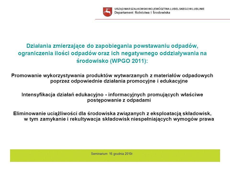 Działania zmierzające do zapobiegania powstawaniu odpadów, ograniczenia ilości odpadów oraz ich negatywnego oddziaływania na środowisko (WPGO 2011): P