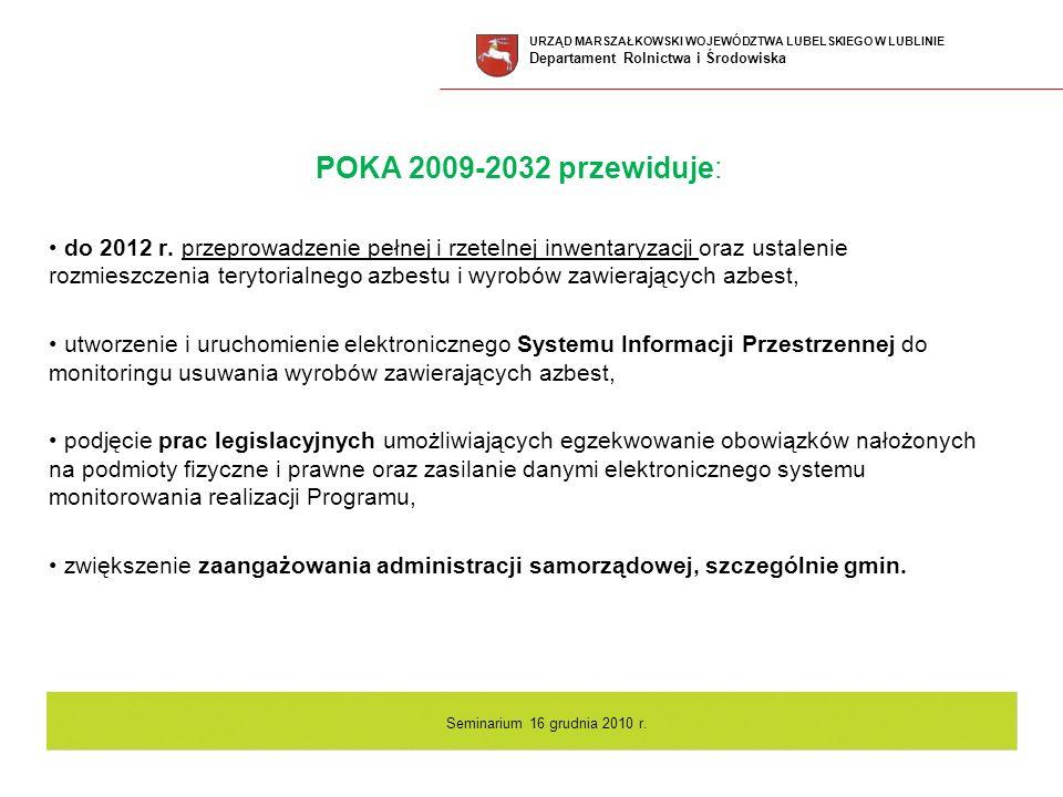 POKA 2009-2032 przewiduje: do 2012 r. przeprowadzenie pełnej i rzetelnej inwentaryzacji oraz ustalenie rozmieszczenia terytorialnego azbestu i wyrobów