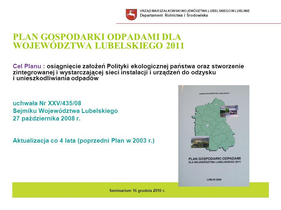 PLAN GOSPODARKI ODPADAMI DLA WOJEWÓDZTWA LUBELSKIEGO 2011 Cel Planu : osiągnięcie założeń Polityki ekologicznej państwa oraz stworzenie zintegrowanej