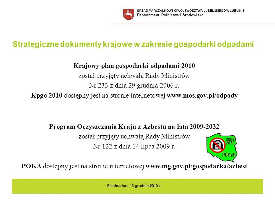 Strategiczne dokumenty krajowe w zakresie gospodarki odpadami Krajowy plan gospodarki odpadami 2010 został przyjęty uchwałą Rady Ministrów Nr 233 z dn