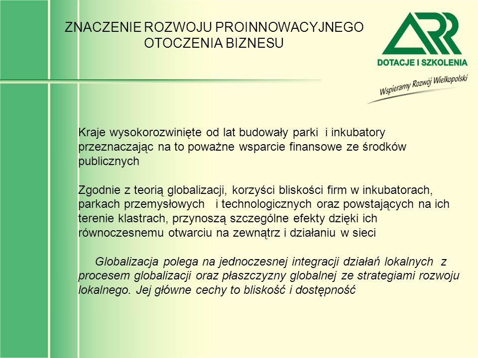 PARKI I INKUBATORY SĄ SZANSĄ WYKORZYSTANIA ZBĘDNEGO MAJĄTKU DO POWSTAWANIA NOWYCH FIRM W Polsce, barierą powstawania i rozwoju przedsiębiorstw jest brak, albo wysoki koszt dostępu do odpowiedniej infrastruktury dla prowadzenia działalności gospodarczej Równocześnie uwolnienie znacznego majątku (uzbrojone tereny poprzemysłowe, budynki, urządzenia produkcyjne) w efekcie realizacji programów restrukturyzacji hutnictwa żelaza i stali, górnictwa węgla kamiennego, przemysłu chemicznego, przemysłu obronnego, przemysłu farmaceutycznego oraz restrukturyzacji innych dużych firm daje szansę stworzenia odpowiedniej infrastruktury technicznej sprzyjającej lokowaniu się MSP