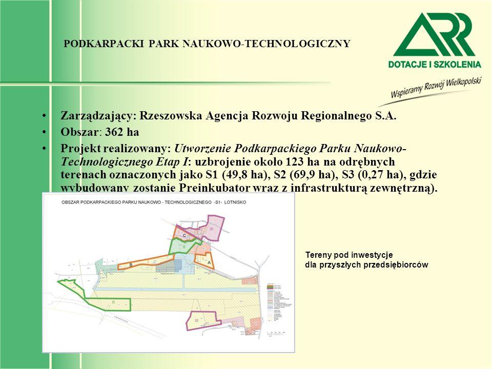 PODKARPACKI PARK NAUKOWO-TECHNOLOGICZNY Zarządzający: Rzeszowska Agencja Rozwoju Regionalnego S.A. Obszar: 362 ha Projekt realizowany: Utworzenie Podk