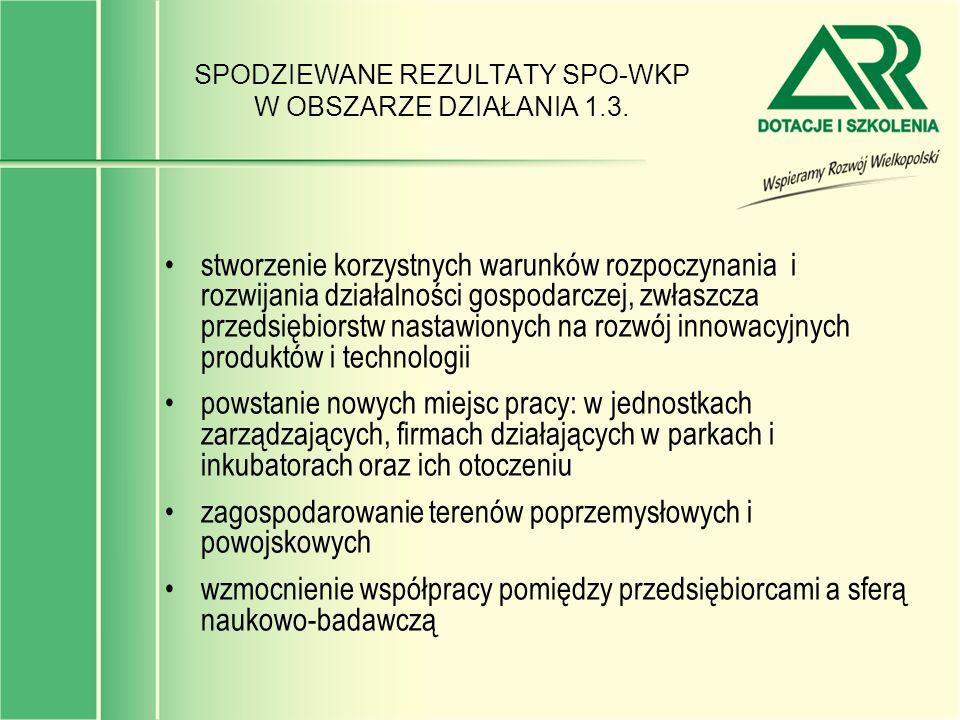 SPODZIEWANE REZULTATY SPO-WKP W OBSZARZE DZIAŁANIA 1.3. stworzenie korzystnych warunków rozpoczynania i rozwijania działalności gospodarczej, zwłaszcz