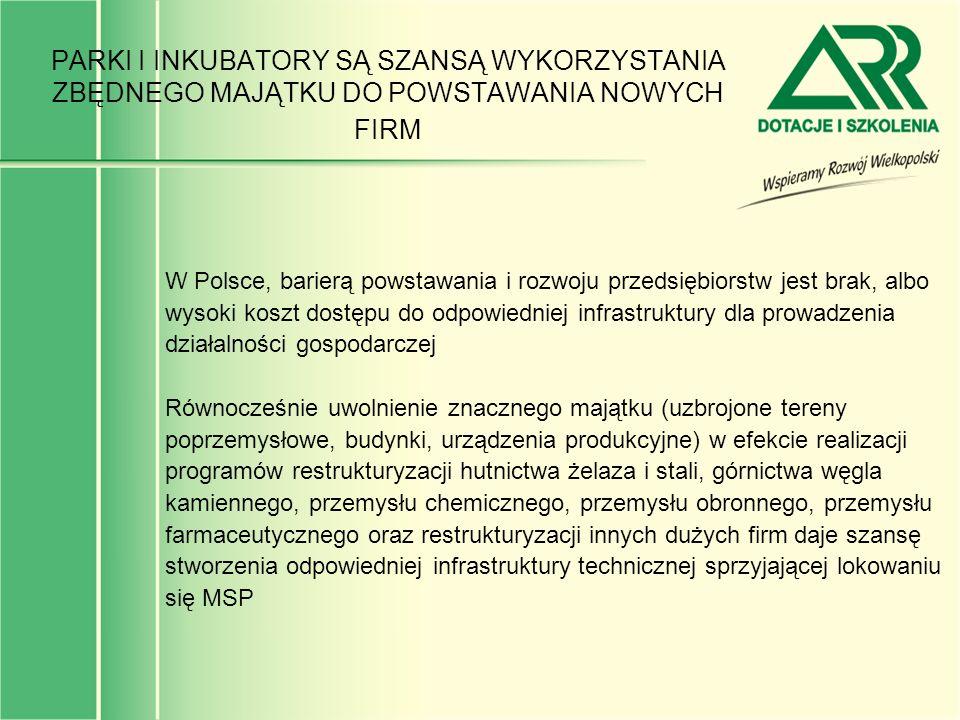 PARKI I INKUBATORY SĄ SZANSĄ WYKORZYSTANIA ZBĘDNEGO MAJĄTKU DO POWSTAWANIA NOWYCH FIRM W Polsce, barierą powstawania i rozwoju przedsiębiorstw jest br