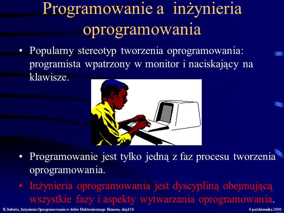 K.Subieta, Inżynieria Oprogramowania w dobie Elektronicznego Biznesu, slajd 156 października 2000 Architektura systemu dla e-biznesu Internet Klient S