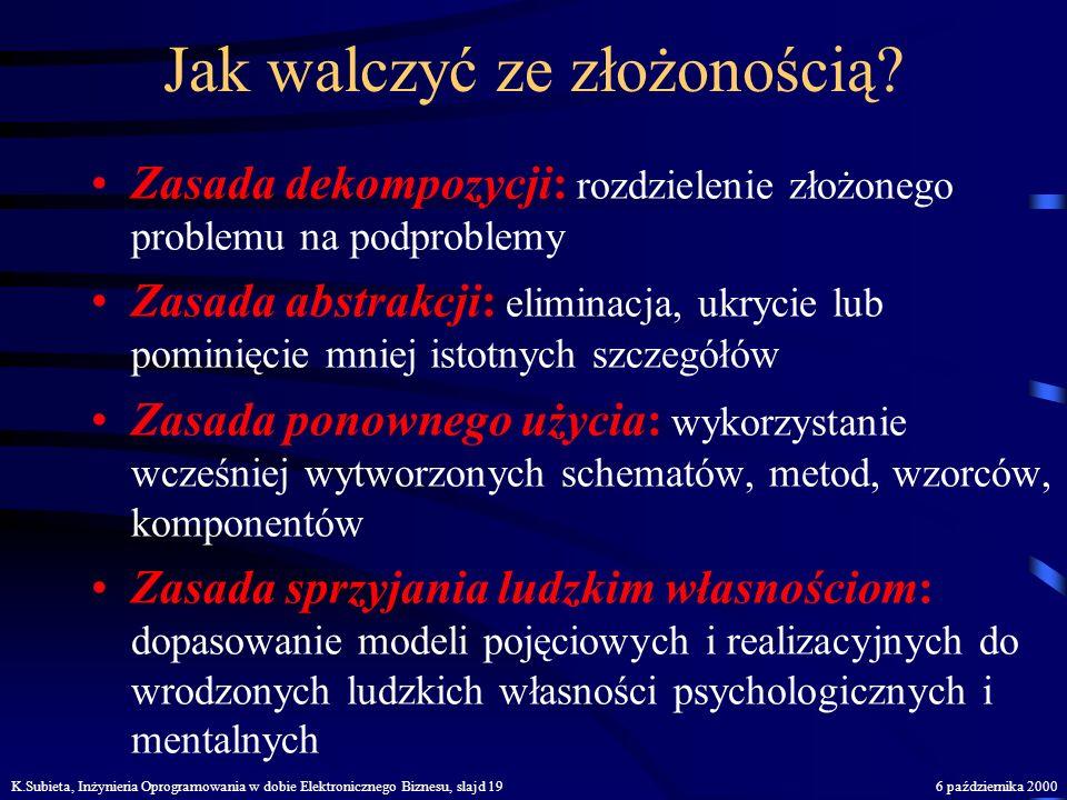 K.Subieta, Inżynieria Oprogramowania w dobie Elektronicznego Biznesu, slajd 186 października 2000 Środki informatyczne: sprzęt, oprogramowanie, sieć,