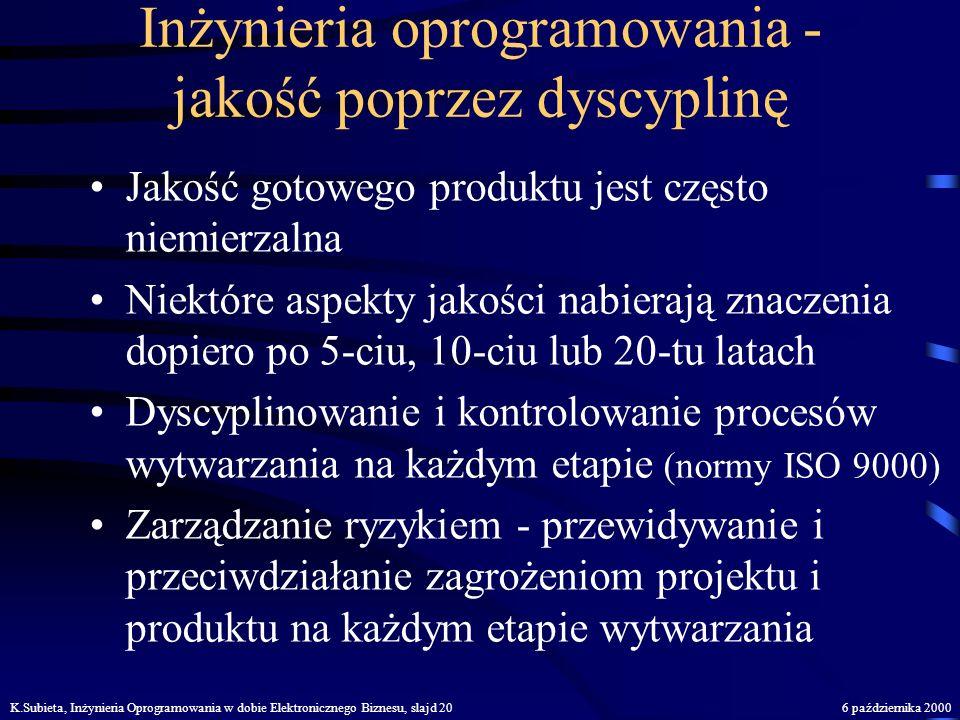 K.Subieta, Inżynieria Oprogramowania w dobie Elektronicznego Biznesu, slajd 196 października 2000 Jak walczyć ze złożonością? Zasada dekompozycji: roz
