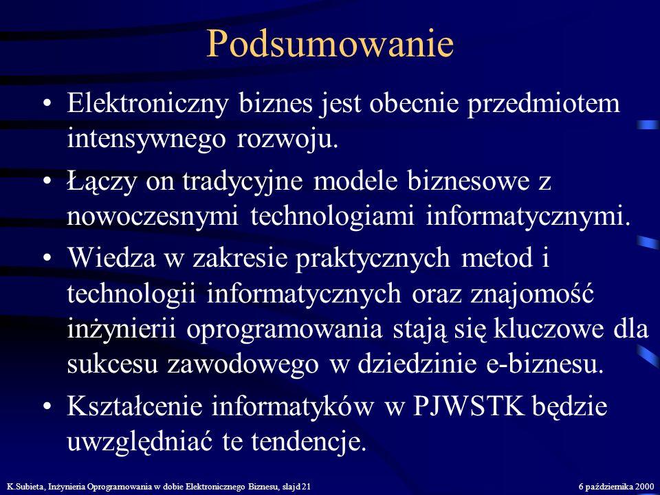 K.Subieta, Inżynieria Oprogramowania w dobie Elektronicznego Biznesu, slajd 206 października 2000 Inżynieria oprogramowania - jakość poprzez dyscyplin