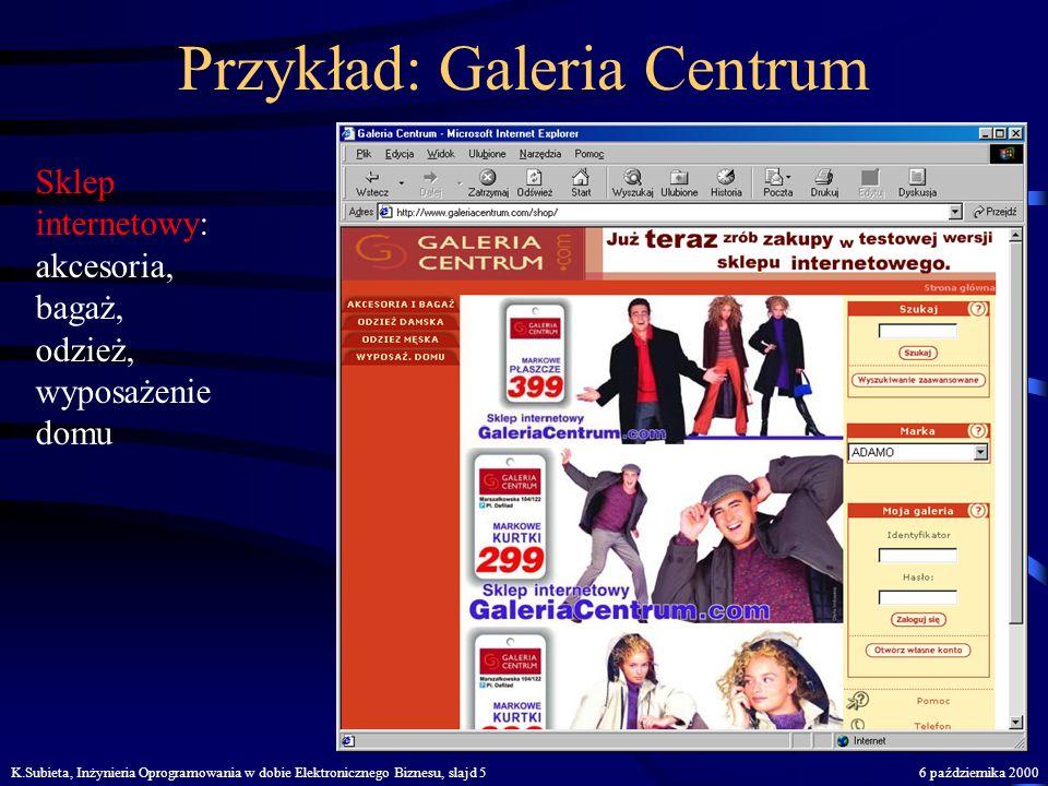 K.Subieta, Inżynieria Oprogramowania w dobie Elektronicznego Biznesu, slajd 46 października 2000 Co to jest.... ? E-komercja - elektronizacja sprzedaż