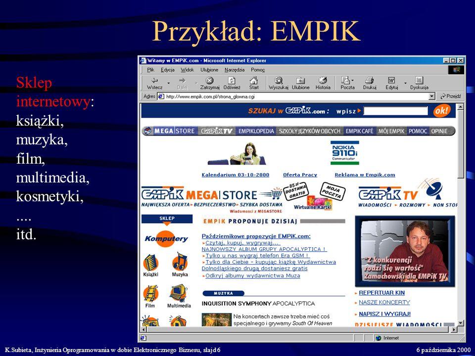 K.Subieta, Inżynieria Oprogramowania w dobie Elektronicznego Biznesu, slajd 56 października 2000 Przykład: Galeria Centrum Sklep internetowy: akcesori