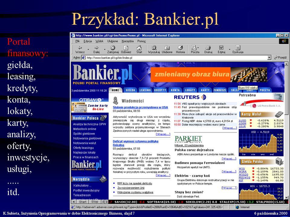 K.Subieta, Inżynieria Oprogramowania w dobie Elektronicznego Biznesu, slajd 66 października 2000 Przykład: EMPIK Sklep internetowy: książki, muzyka, f