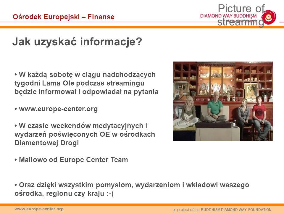 a project of the BUDDHISM DIAMOND WAY FOUNDATION www.europe-center.org Jak uzyskać informacje? W każdą sobotę w ciągu nadchodzących tygodni Lama Ole p