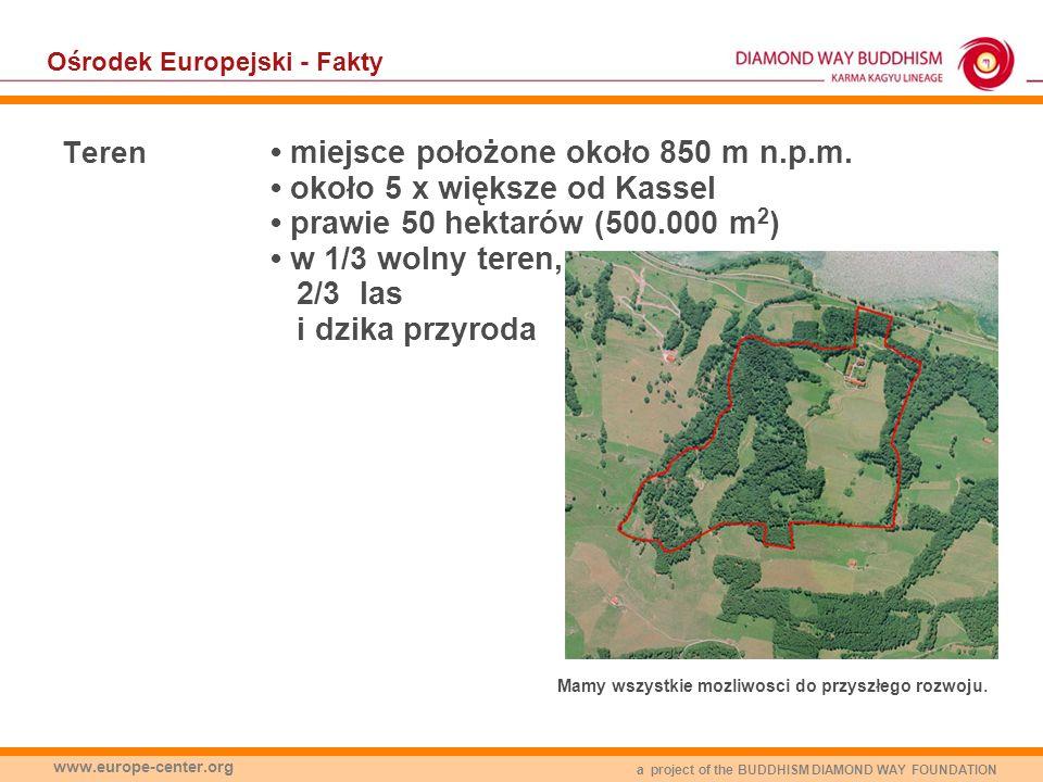 a project of the BUDDHISM DIAMOND WAY FOUNDATION www.europe-center.org Ośrodek Europejski - Fakty Teren miejsce położone około 850 m n.p.m. około 5 x
