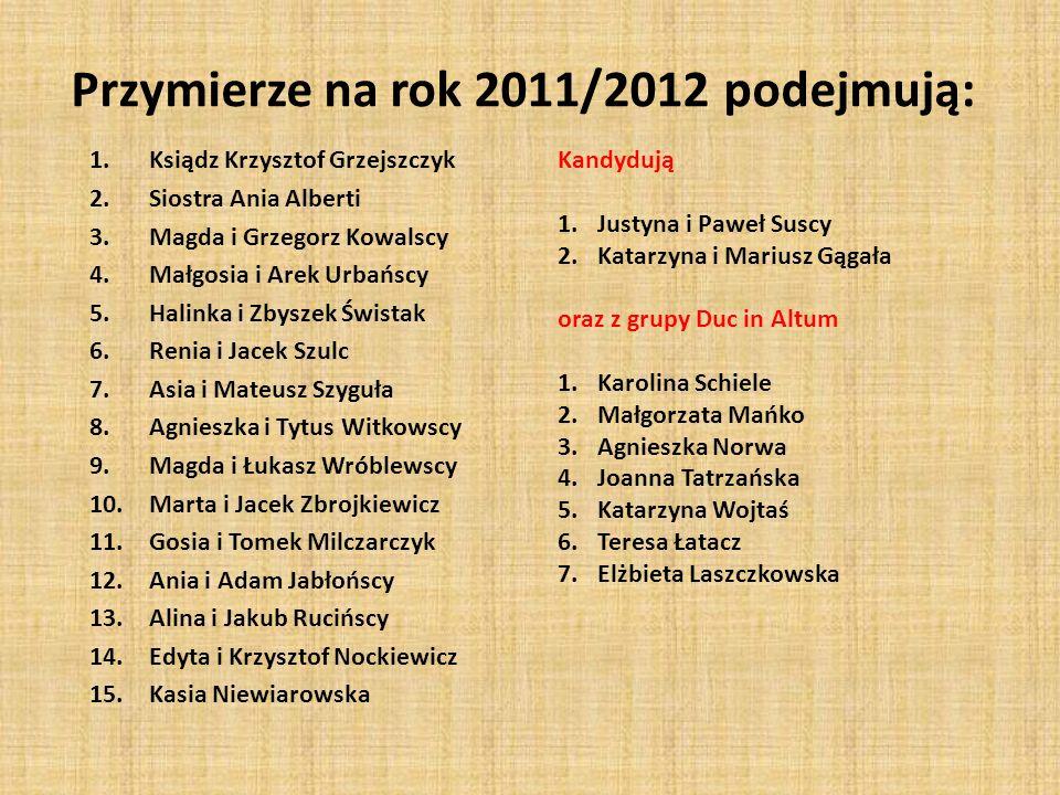 Przymierze na rok 2011/2012 podejmują: 1.Ksiądz Krzysztof Grzejszczyk 2.Siostra Ania Alberti 3.Magda i Grzegorz Kowalscy 4.Małgosia i Arek Urbańscy 5.