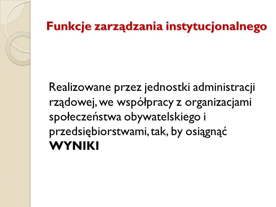 Funkcje zarządzania instytucjonalnego Realizowane przez jednostki administracji rządowej, we współpracy z organizacjami społeczeństwa obywatelskiego i