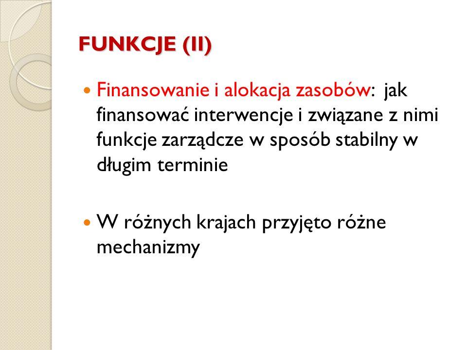 FUNKCJE (II) Finansowanie i alokacja zasobów: jak finansować interwencje i związane z nimi funkcje zarządcze w sposób stabilny w długim terminie W róż