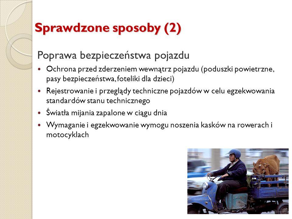 Sprawdzone sposoby (2) Poprawa bezpieczeństwa pojazdu Ochrona przed zderzeniem wewnątrz pojazdu (poduszki powietrzne, pasy bezpieczeństwa, foteliki dl