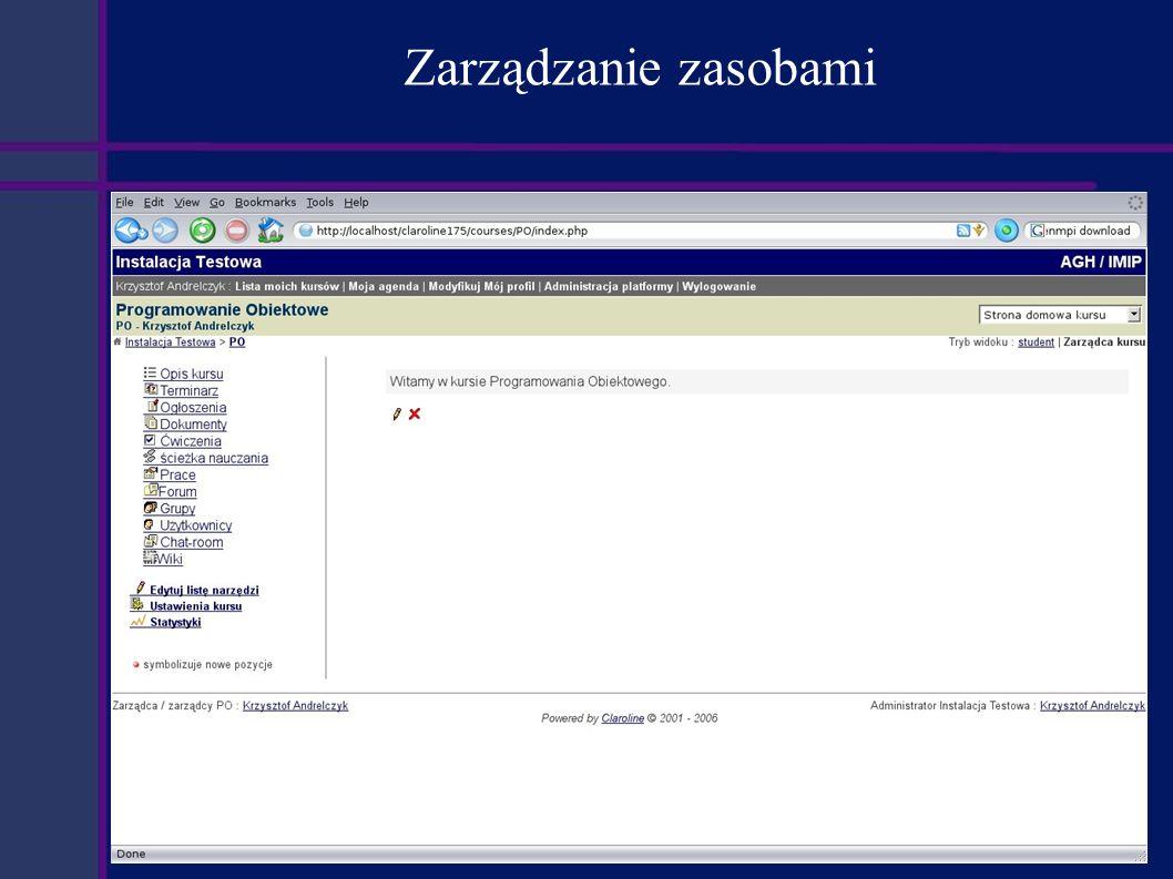 Podsumowanie Zalety: Elastyczne zarządzanie użytkownikami i zasobami na poziomie kursów i ich elementów.