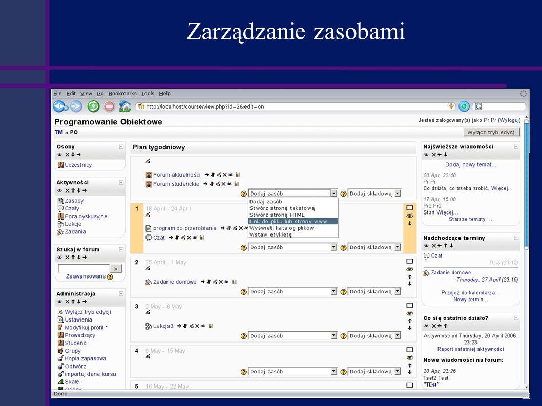 Podsumowanie Zalety: Rozbudowany system komunikacji umożliwiający swobodny przepływ informacji pomiędzy wszystkimi użytkownikami platformy.