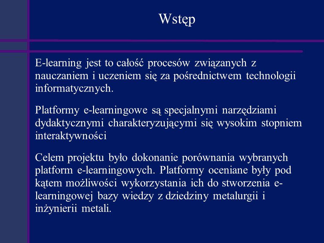 Analiza potrzeb Łatwe i elastyczne zarządzanie elementami kursów - wielokrotne wykorzystywanie - grupowanie - łączenie, wiązanie Możliwość importowania elementów kursów z zewnętrznych źródeł Rozbudowany system komunikacji pomiędzy użytkownikami