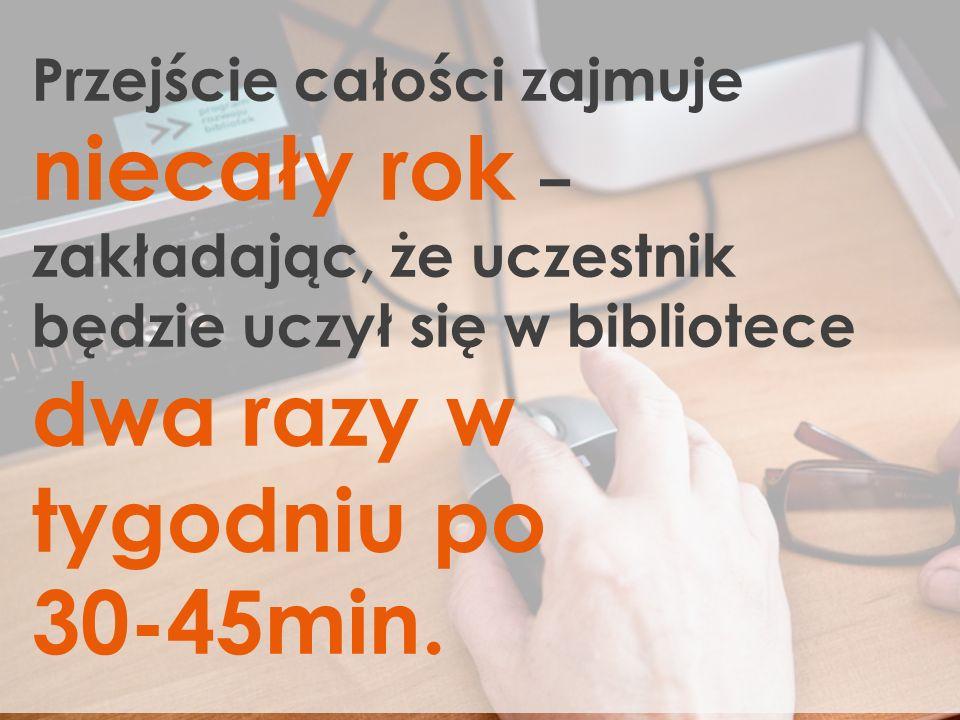 Przejście całości zajmuje niecały rok – zakładając, że uczestnik będzie uczył się w bibliotece dwa razy w tygodniu po 30-45min.