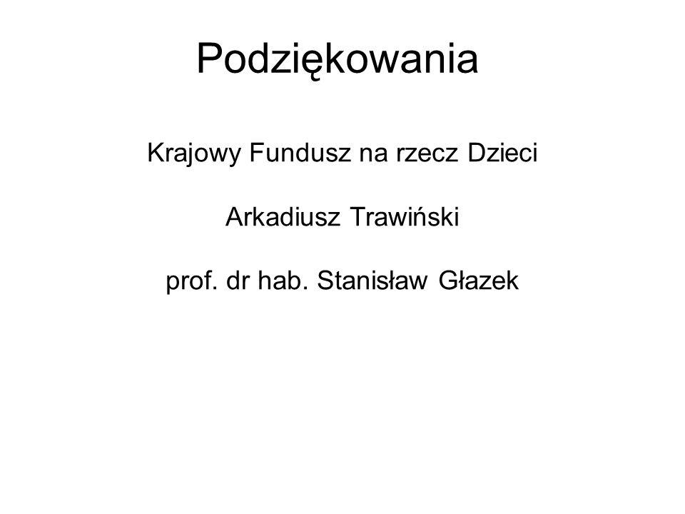 Podziękowania Krajowy Fundusz na rzecz Dzieci Arkadiusz Trawiński prof. dr hab. Stanisław Głazek